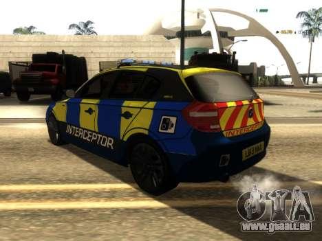BMW 120i SE UK Police ANPR Interceptor für GTA San Andreas zurück linke Ansicht