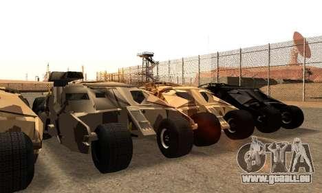 Army Tumbler Gun Tower from TDKR pour GTA San Andreas vue de dessous