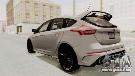 Ford Focus RS 2017 pour GTA San Andreas laissé vue