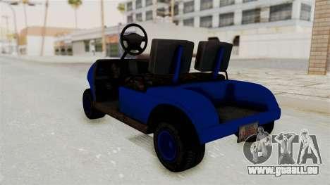 GTA 5 Gambler Caddy Golf Cart IVF für GTA San Andreas zurück linke Ansicht