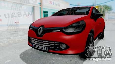 Renault Clio 4 HQLM für GTA San Andreas zurück linke Ansicht
