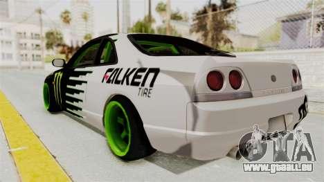 Nissan Skyline R33 Drift Monster Energy Falken für GTA San Andreas linke Ansicht