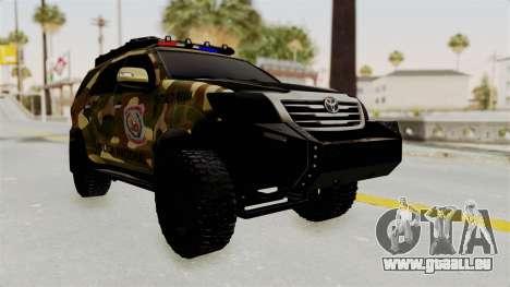 Toyota Fortuner 4WD 2015 Paraguay pour GTA San Andreas sur la vue arrière gauche