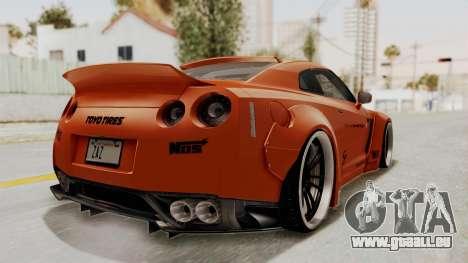 Nissan GT-R R35 Liberty Walk LB Performance pour GTA San Andreas sur la vue arrière gauche