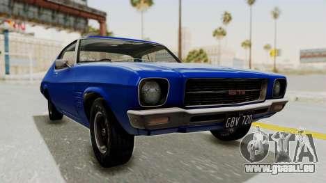 Holden Monaro GTS 1971 AU Plate IVF pour GTA San Andreas vue de droite