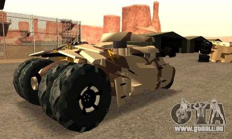 Army Tumbler Gun Tower from TDKR pour GTA San Andreas sur la vue arrière gauche