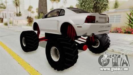 Ford Mustang 1999 Monster Truck pour GTA San Andreas laissé vue