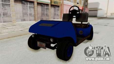 GTA 5 Gambler Caddy Golf Cart IVF für GTA San Andreas rechten Ansicht
