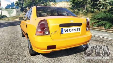GTA 5 Hyundai Accent Admire arrière vue latérale gauche
