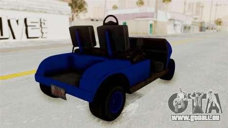 GTA 5 Gambler Caddy Golf Cart IVF pour GTA San Andreas laissé vue