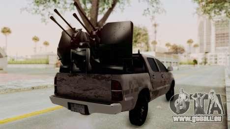 Toyota Hilux 2014 Army Libyan für GTA San Andreas zurück linke Ansicht