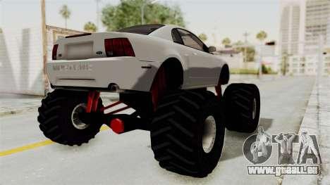 Ford Mustang 1999 Monster Truck pour GTA San Andreas sur la vue arrière gauche