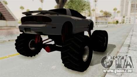 Pontiac Firebird Trans Am 2002 Monster Truck für GTA San Andreas zurück linke Ansicht