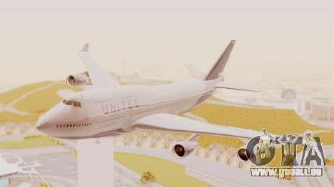Boeing 747-400 United Airlines für GTA San Andreas zurück linke Ansicht