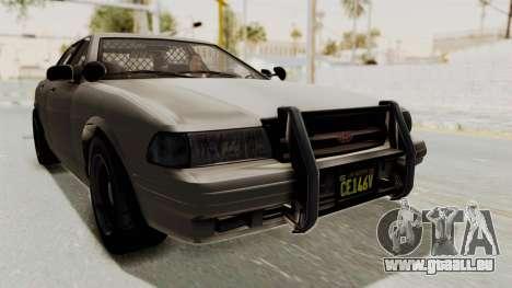 GTA 5 Vapid Stanier II Police Cruiser 2 IVF pour GTA San Andreas sur la vue arrière gauche