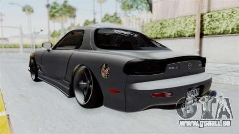 Mazda RX-7 FD3S HellaFlush pour GTA San Andreas sur la vue arrière gauche