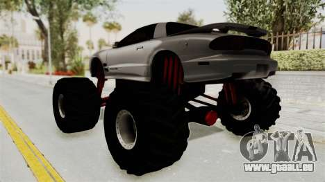 Pontiac Firebird Trans Am 2002 Monster Truck pour GTA San Andreas laissé vue