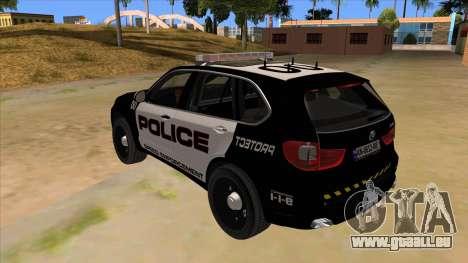 2014 BMW X5 F15 Police pour GTA San Andreas sur la vue arrière gauche