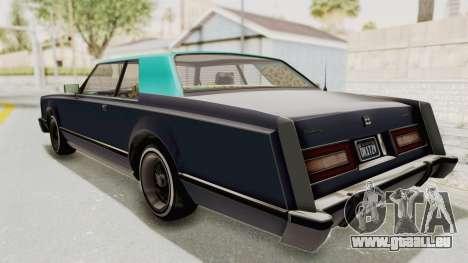 GTA 5 Dundreary Virgo Classic Custom v2 IVF für GTA San Andreas zurück linke Ansicht