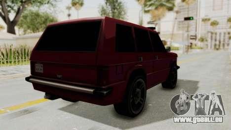 Huntley LR pour GTA San Andreas sur la vue arrière gauche