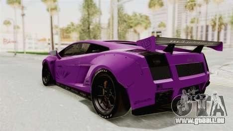 Lamborghini Gallardo 2015 Liberty Walk LB pour GTA San Andreas sur la vue arrière gauche