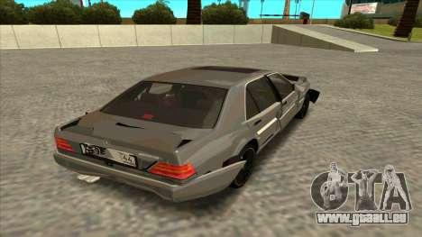 Mercedez-Benz W140 pour GTA San Andreas vue intérieure