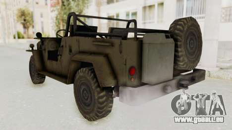 MGSV Jeep No LMG pour GTA San Andreas sur la vue arrière gauche