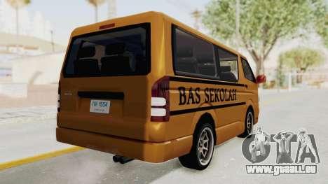 Toyota Hiace School Bus pour GTA San Andreas laissé vue