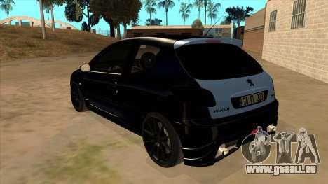 Peugeot 206 MO Edit pour GTA San Andreas sur la vue arrière gauche