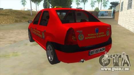 Dacia Logan Scoala pour GTA San Andreas sur la vue arrière gauche
