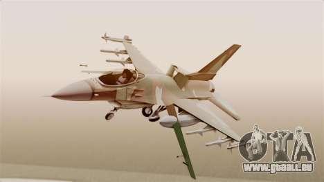 F-16A General Dynamics Chadian Air Force für GTA San Andreas zurück linke Ansicht