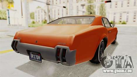 GTA 5 Declasse Sabre GT2 B pour GTA San Andreas sur la vue arrière gauche