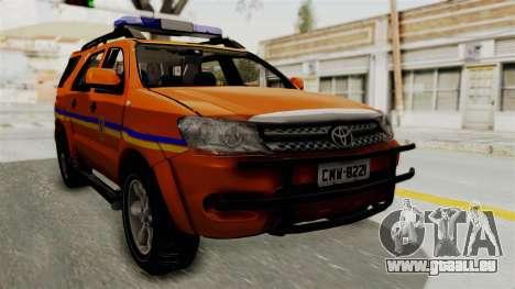 Toyota Fortuner JPJ Orange pour GTA San Andreas