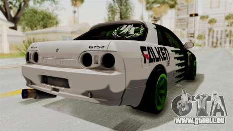 Nissan Skyline R32 Drift Monster Energy Falken pour GTA San Andreas sur la vue arrière gauche