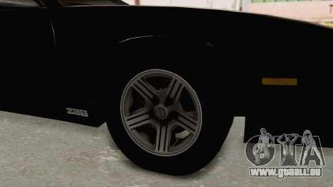 Chevrolet Camaro Z28 Iroc-Z Targa 1991 für GTA San Andreas Rückansicht