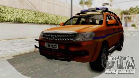 Toyota Fortuner JPJ Orange pour GTA San Andreas sur la vue arrière gauche