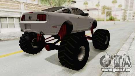 Ford Mustang 2005 Monster Truck pour GTA San Andreas sur la vue arrière gauche