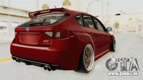Subaru Impreza WRX STI pour GTA San Andreas sur la vue arrière gauche