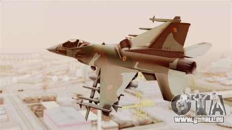 F-16A General Dynamics Chadian Air Force für GTA San Andreas rechten Ansicht