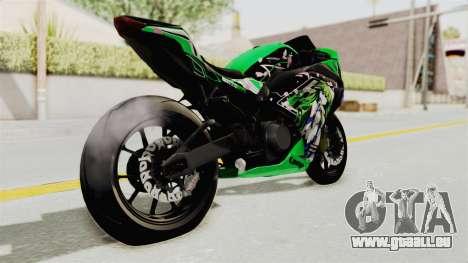 Kawasaki Ninja 250FI Kochiya Sanae Itasha pour GTA San Andreas sur la vue arrière gauche