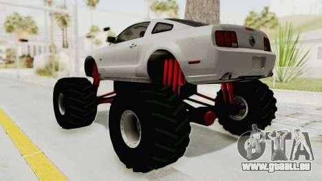 Ford Mustang 2005 Monster Truck pour GTA San Andreas laissé vue