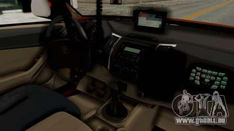 Toyota Fortuner JPJ Orange pour GTA San Andreas vue arrière