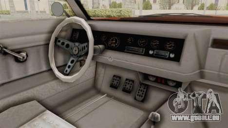 GTA 5 Declasse Sabre GT2 B pour GTA San Andreas vue intérieure