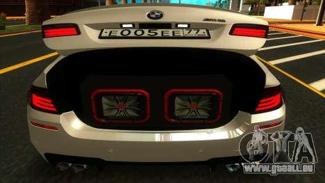 BMW M5 F10 2012 pour GTA San Andreas vue intérieure