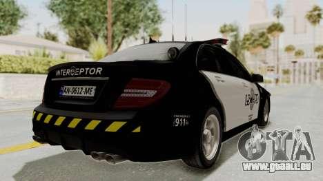 Mercedes-Benz C63 AMG 2010 Police v2 für GTA San Andreas rechten Ansicht
