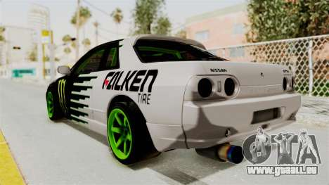 Nissan Skyline R32 Drift Monster Energy Falken für GTA San Andreas linke Ansicht