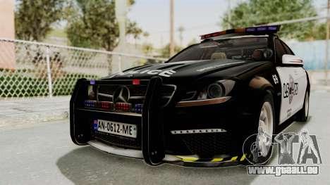 Mercedes-Benz C63 AMG 2010 Police v2 pour GTA San Andreas sur la vue arrière gauche