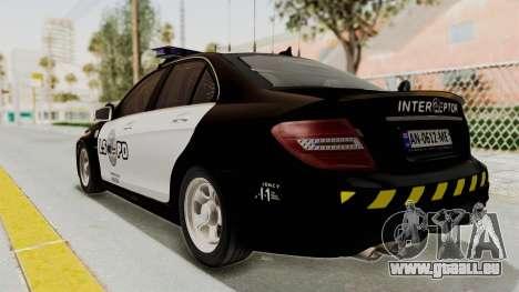 Mercedes-Benz C63 AMG 2010 Police v2 für GTA San Andreas linke Ansicht