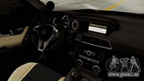 Mercedes-Benz C63 AMG 2010 Police v2 für GTA San Andreas Innenansicht
