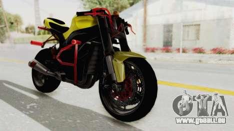 Kawasaki Ninja ZX-10R Nakedbike Stunter für GTA San Andreas zurück linke Ansicht